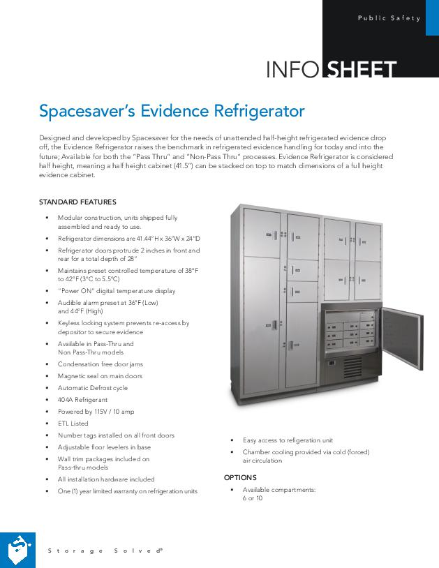 Free Download Info Sheet: Spacesaver's Evidence Refrigerator