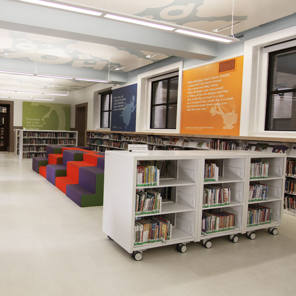 library movable book shelving charts