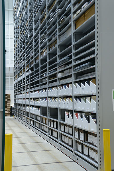 high-bay library shelving, offsite library facility