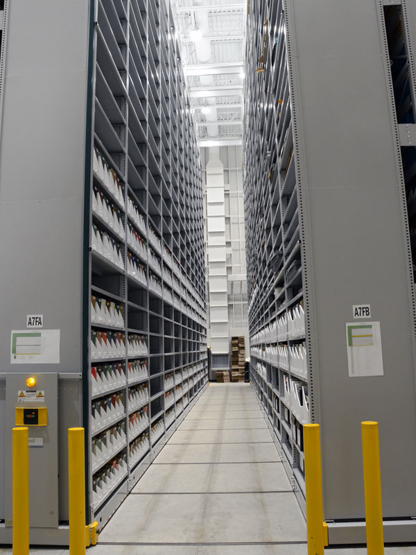 Open aisle of XTend Mobile Storage System