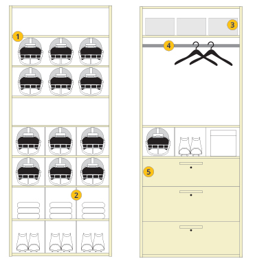 Foot ball Shelving configuration