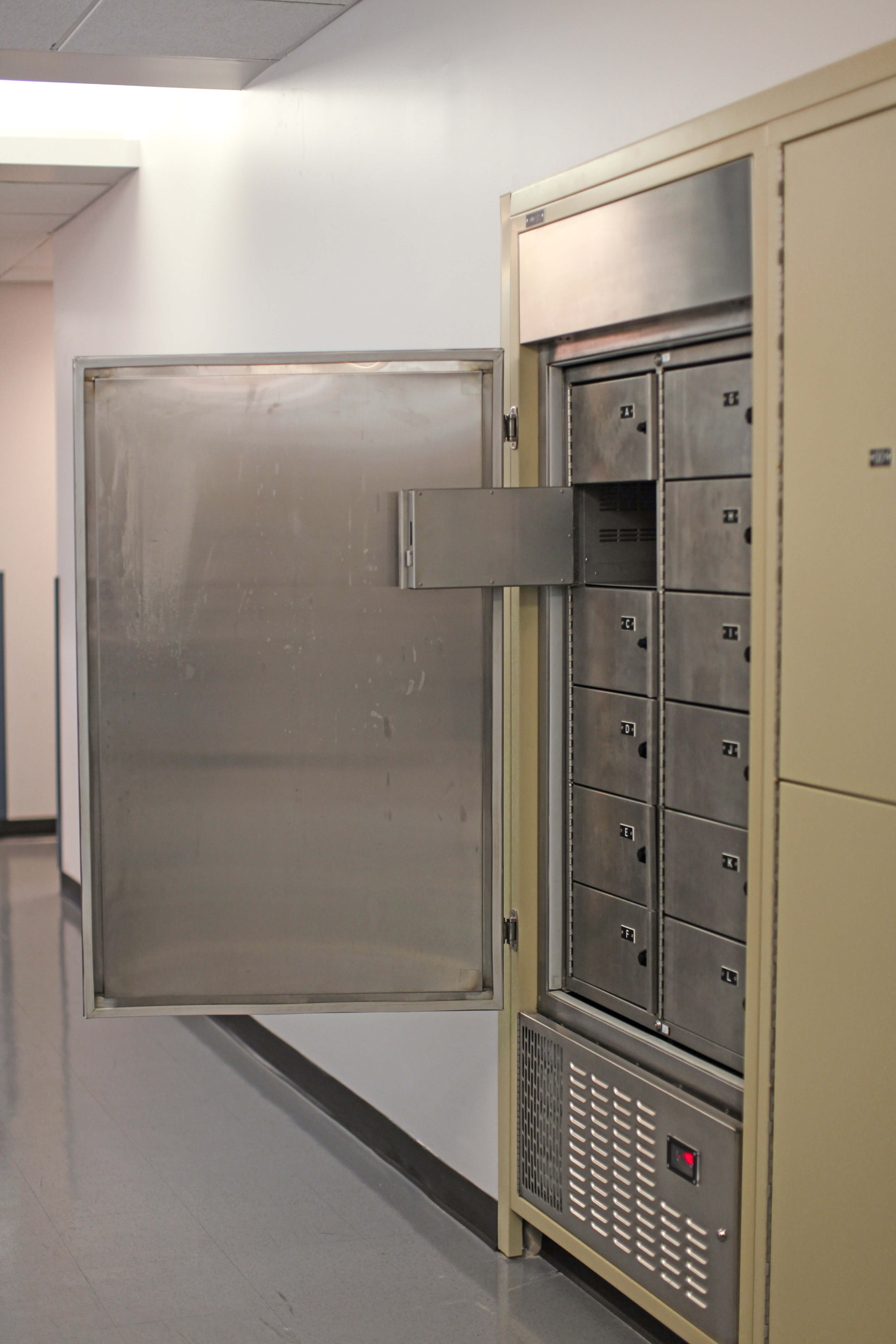 Refrigerator storage for short-term evidence at Bensalem Police Department