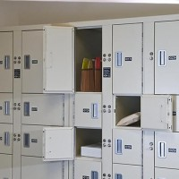 Non-pass-thru evidence storage lockers