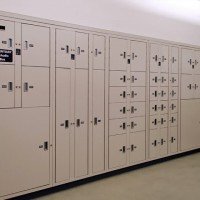 Pass-thru evidence storage lockers