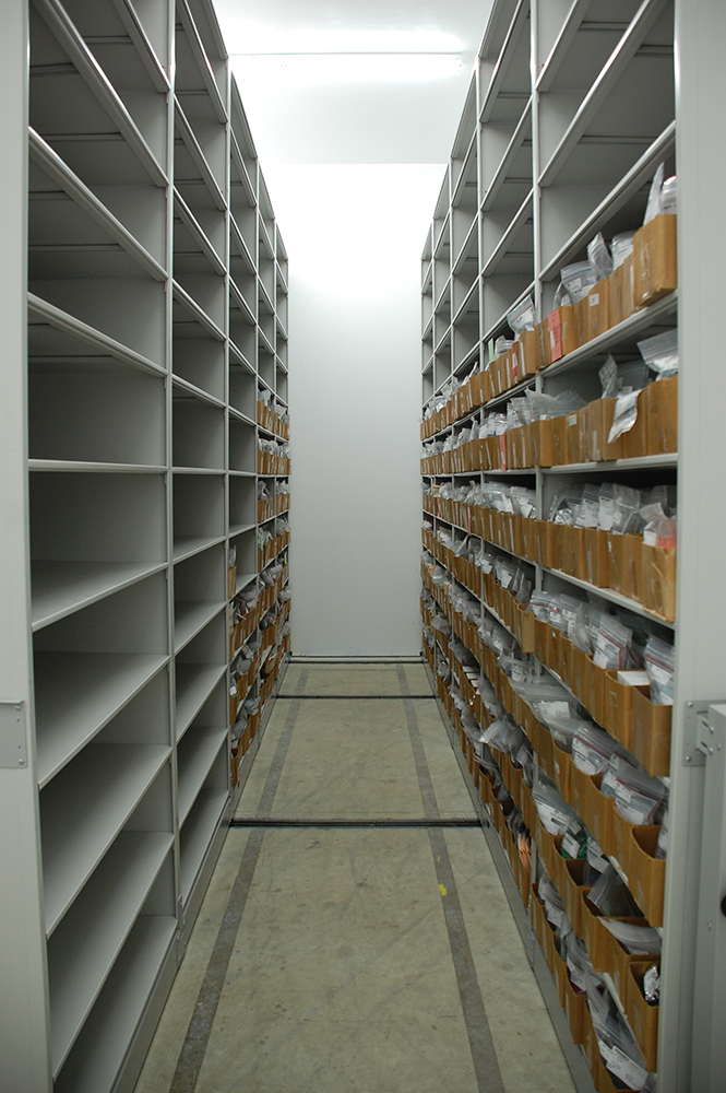 mobile shelving system in climate controlled storage