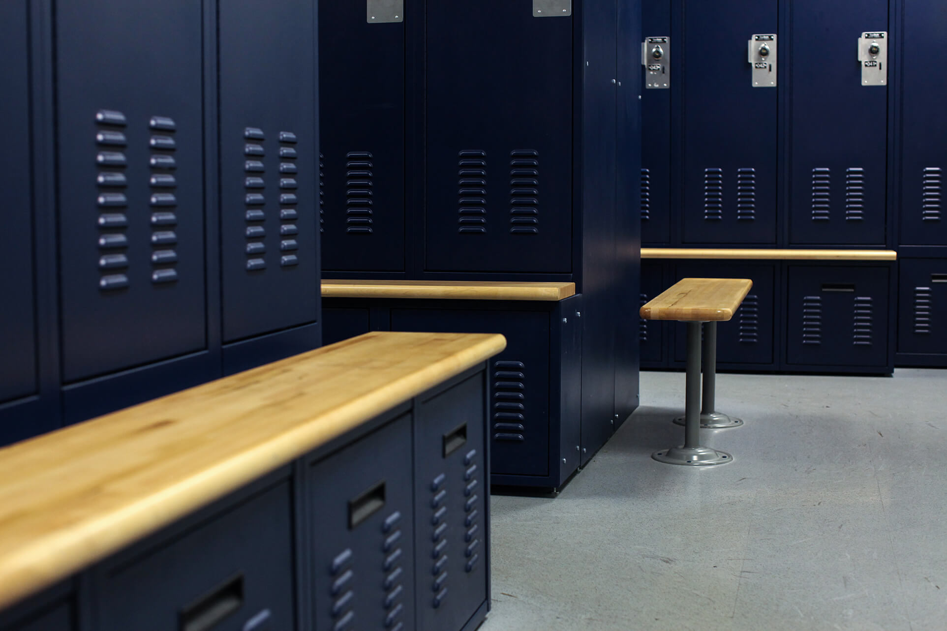 Secure drawers for locker storage at Bensalem, Pennsylvania Police Department