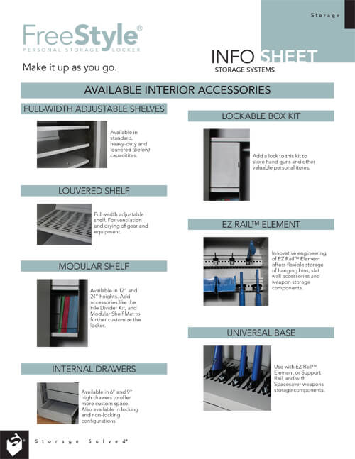 INFO SHEET: FREESTYLE PERSONAL STORAGE LOCKER AVAILABLE INTERIOR ACCESSORIES