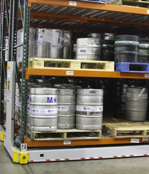 Keg Storage on mobile industrial racking at beer distributor
