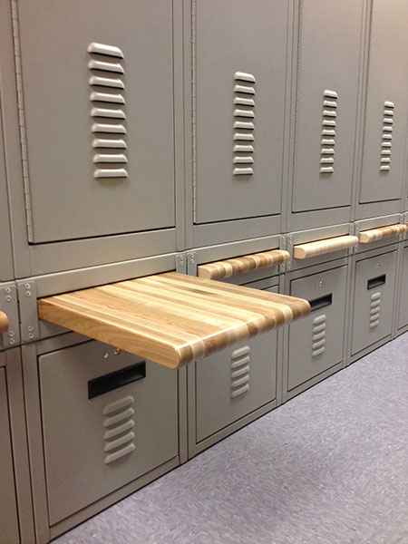 Wood Bench fully retracted on personal storage locker in East Mesa Reentry Facility