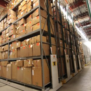 Mobile warehouse shelving system storing bulk evidence at the Houston Police Department.