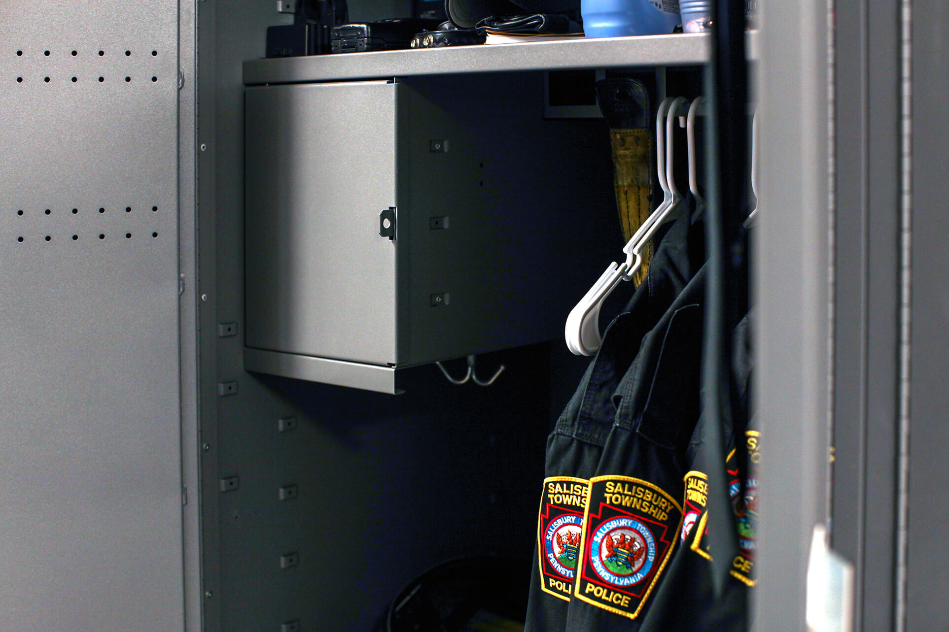Flexible storage options inside personal storage lockers at Salisbury Township Police Department