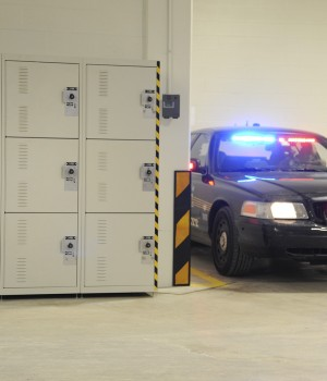 Gear Bag storage in parking garage at Skokie Police Department