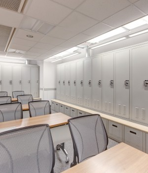 Locker Storage with Bench and Pullout Drawer at SLC Public Safety Building