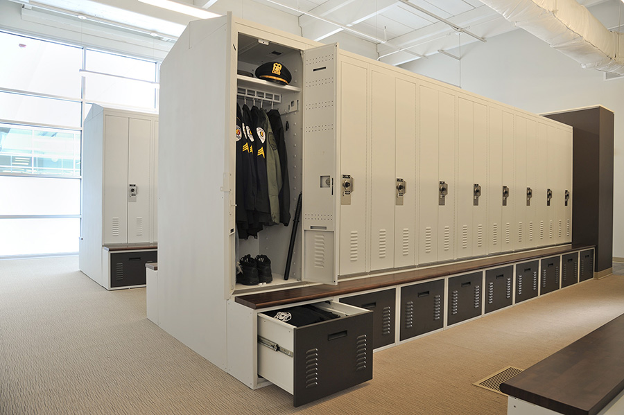 Uniform and Gear Locker Storage in Personal Storage Lockers at Skokie Police Department