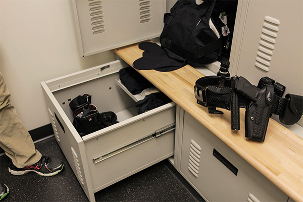 officer lockers bench drawers trays