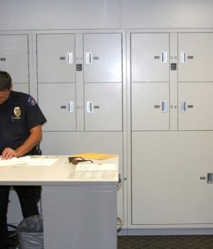 Aurora Police Deptartment Evidence Processing room with Short term evidence lockers