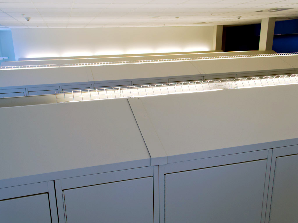 Indirect lighting ontop of personal lockers at Franklin Police Department