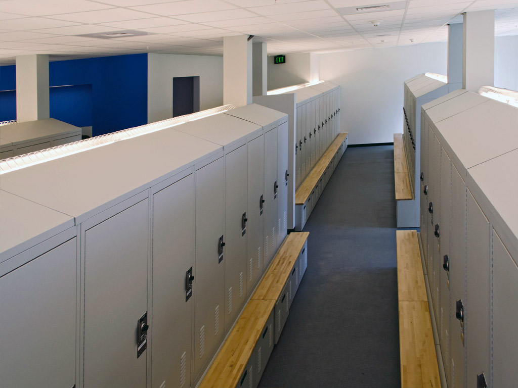 Sloped tops encase HVAC exhaust system for drying office gear and removing odors at Franklin Police Department
