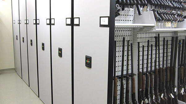 Mobile shelving for weapon storage at IL East Metro Forensic Lab
