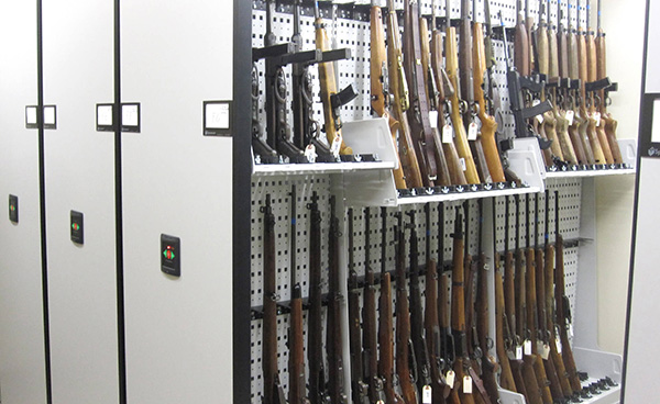 Compact Shelving for long gun evidence storage at IL East Metro Forensic Lab