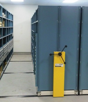 MRO repair parts storage on mobile storage system at Aveva Drug Delivery Systems