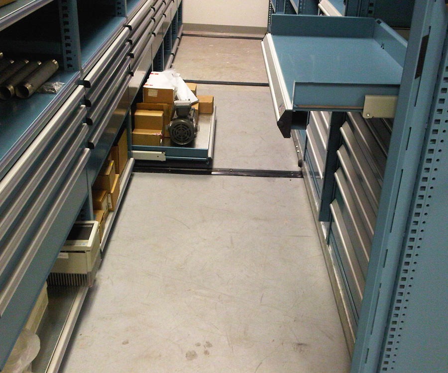 Roll out drawers on mobile storage system at Aveva Drug Delivery Systems