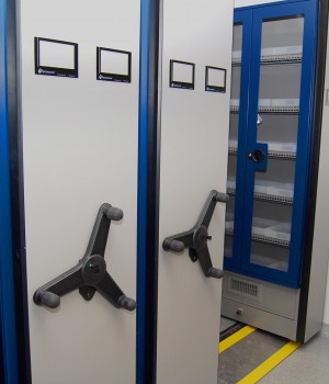 Mechanical Assist Mobile Shelving with Silicone Caulk for Pharma Compound Chemical Storage