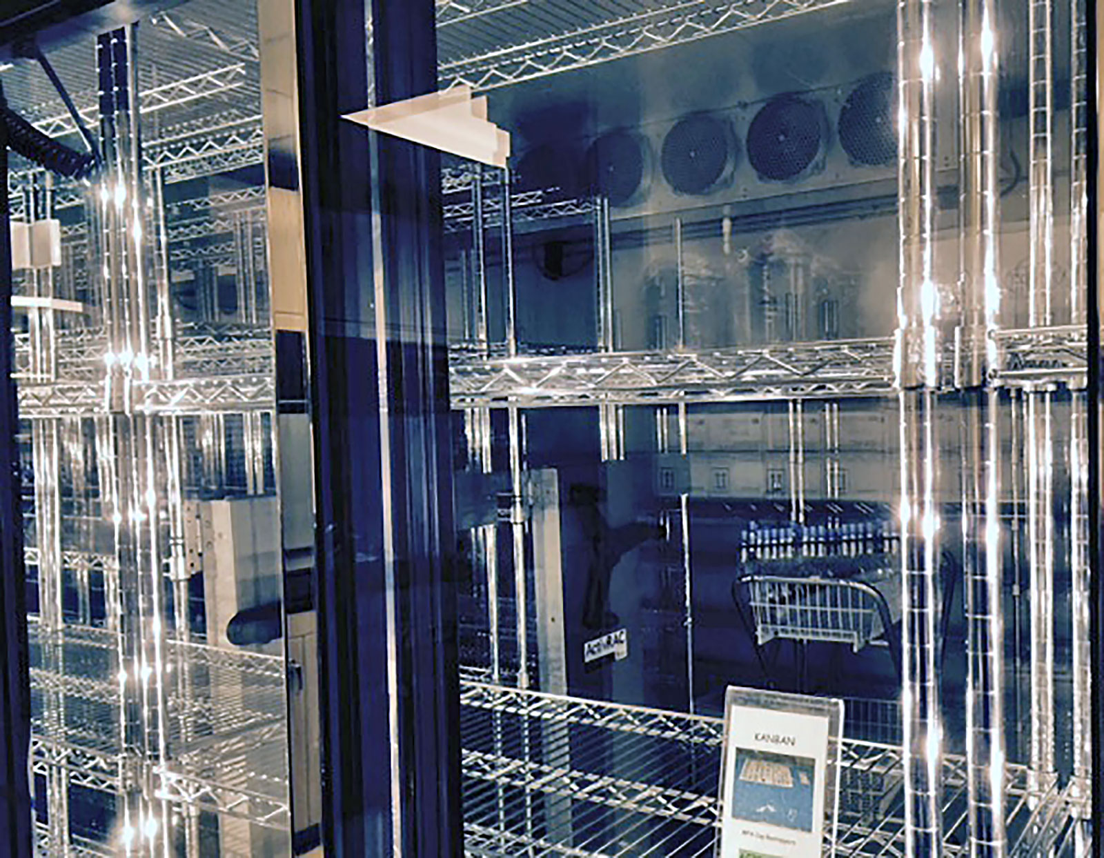 Wire shelving on stainless steel mobile storage system at Virginia Hospital