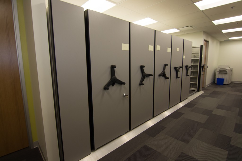 Mechanical-assist low-profile mobile storage system in finance dept.