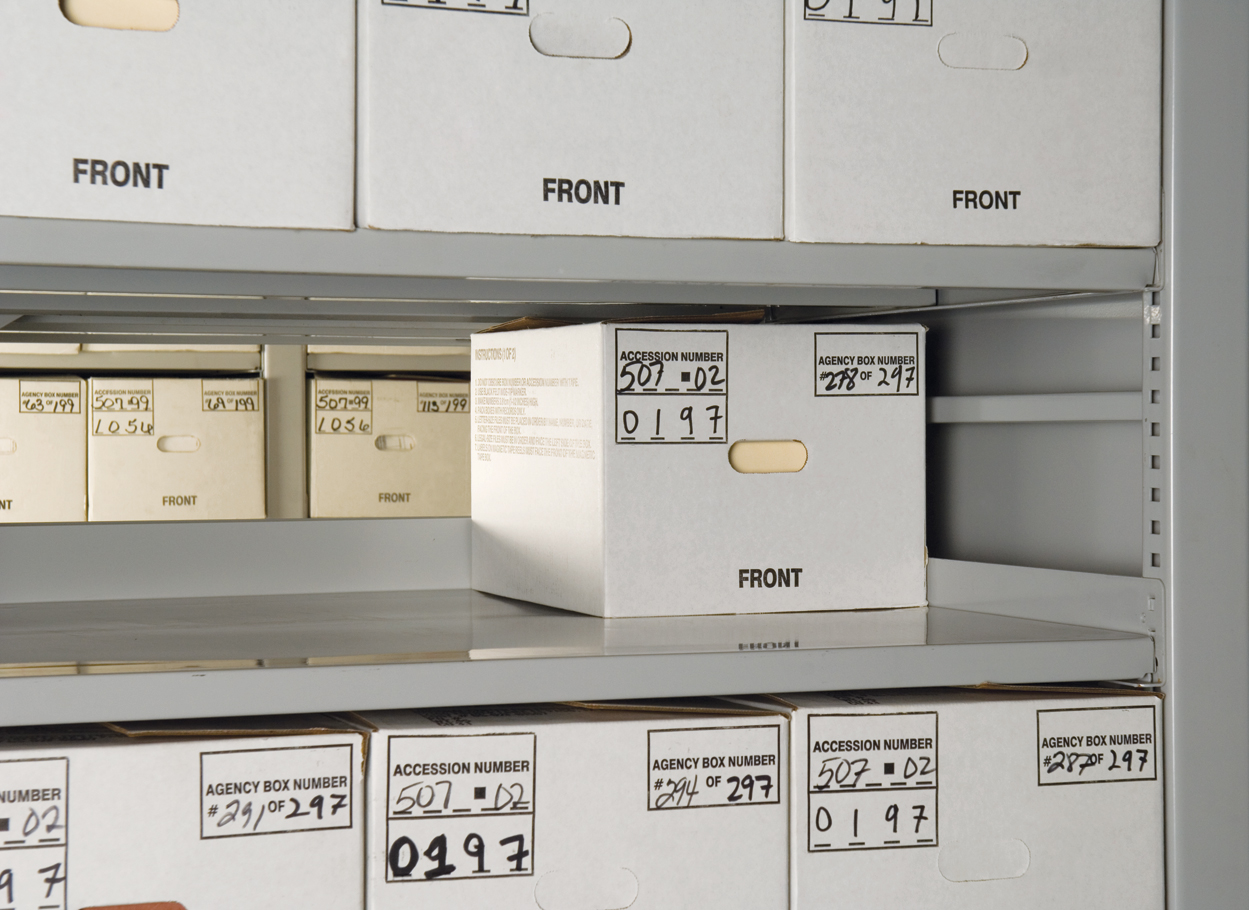 Extra wide shelves on Xtend Mobile storage systems to accomodate two rows of banker boxes