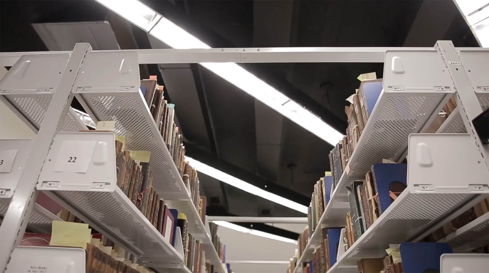 Library books storage on Perforated cantilever shelving at Gettysburg College