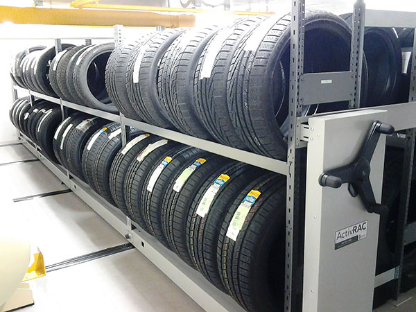 Mobile Racking System storing tires for Porsche auto dealership