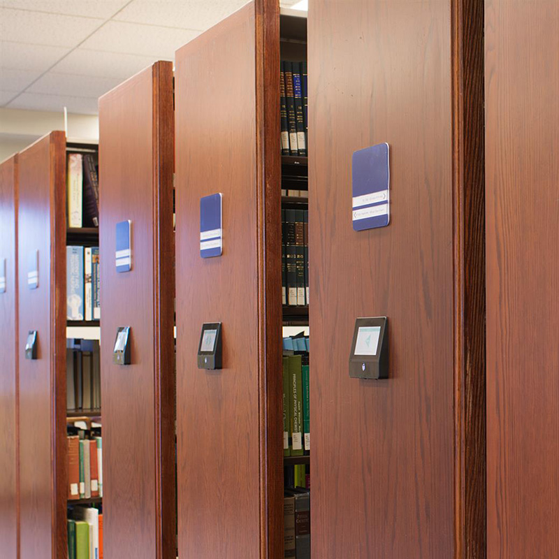 LCD controls for compact library book storage