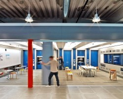 Spacesaver manufactured the basis for the moveable walls at the GE design center