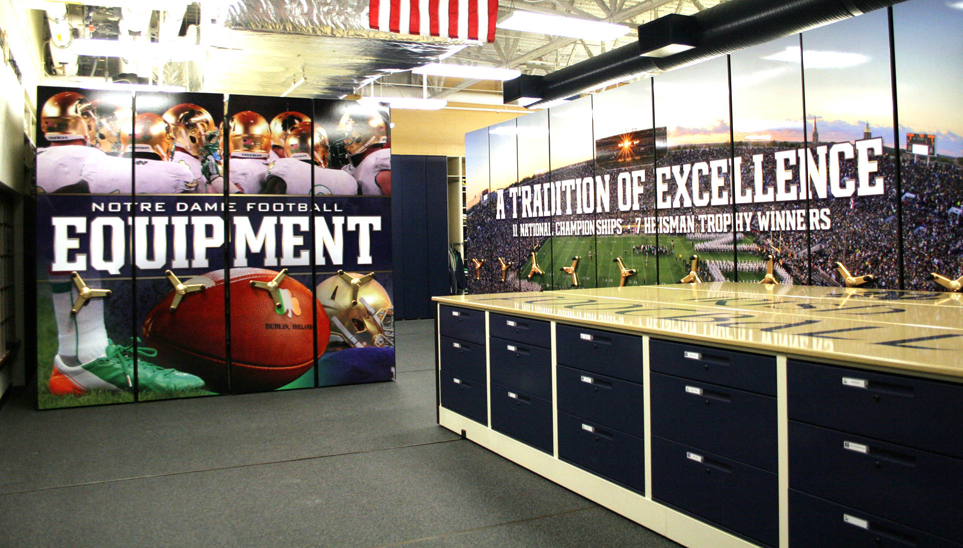 Compact Shelving For Football Team Storage At Notre Dame