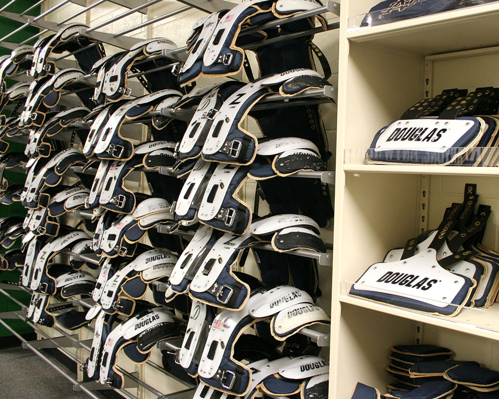 football team storage, shoulder pad storage, athletic equipment storage