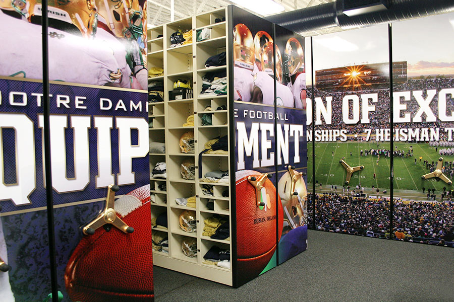 Football team storage - athletic equipment storage - shelves that move