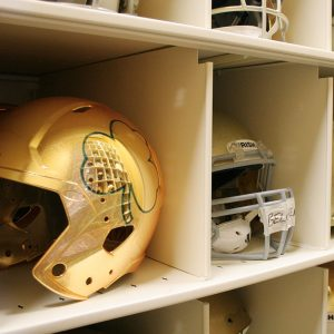 Football team storage - helmet storage in compact shelving
