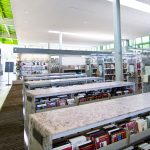 LEED library design ideas, recycled content, steel shelving, cantilever library shelving