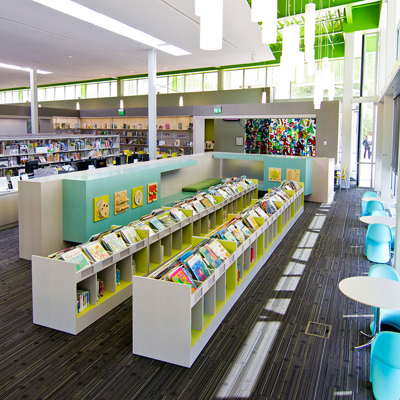 LEED library design ideas, recycled content, steel shelving, cantilever library shelving, childrens area
