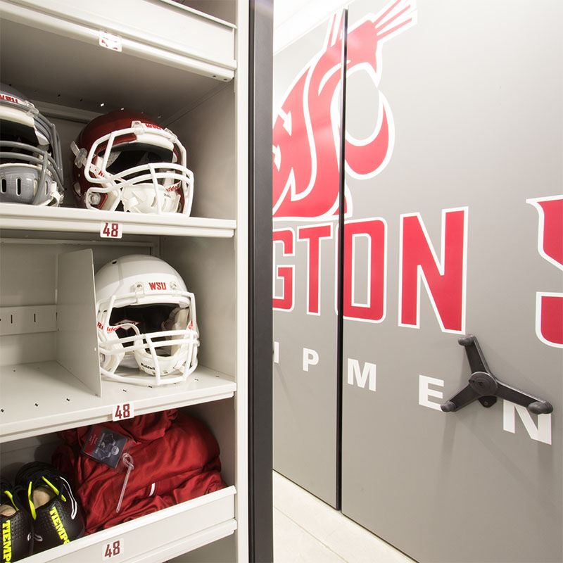 football equipment room storage, team equipment storage