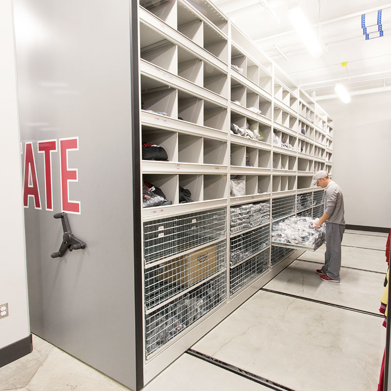 sports team storage, football equipment room, wire drawers