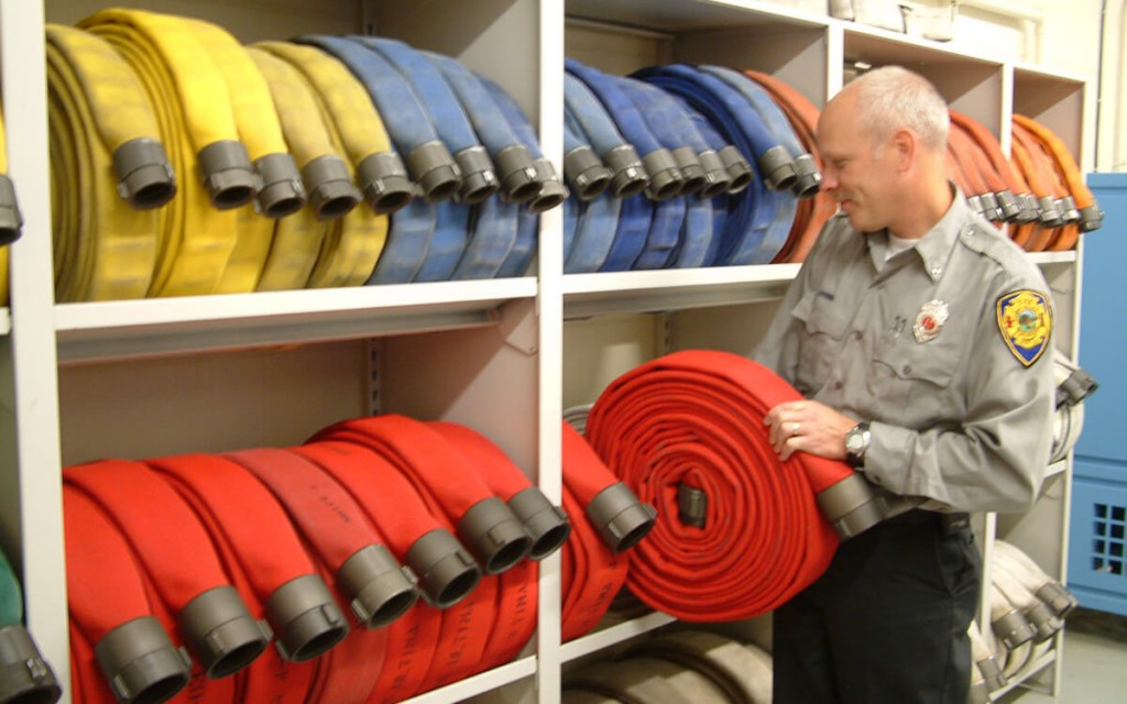 Fire Hose storage on 4-post shelving