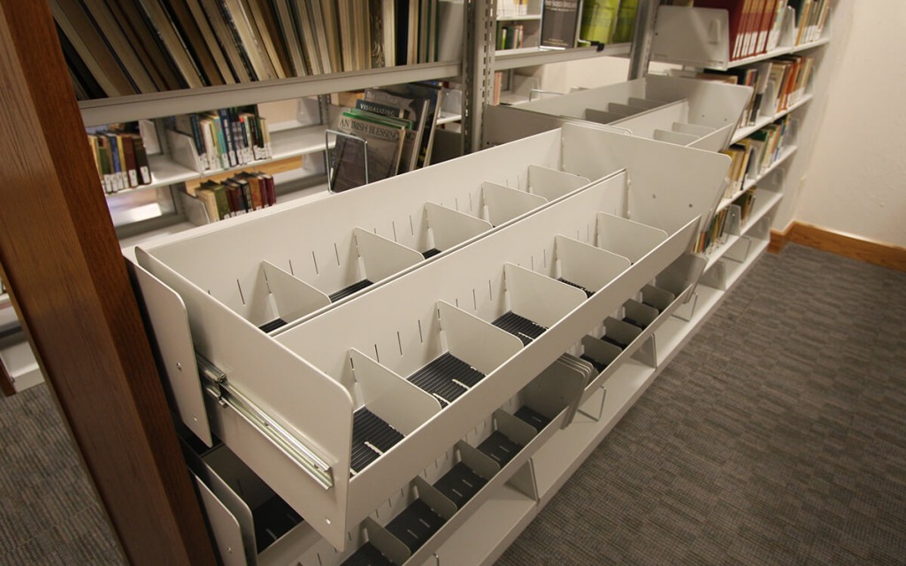 Cantilevered Pullout Media Storage at McClelland Irish Library