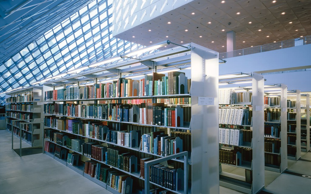 Cantilever Library Shelving with light, bright end panels, Seattle Central Library