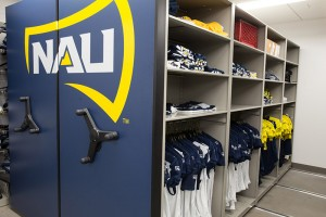 athletic apparel storage from Spacesaver - compact mobile shelving - compactor system - sports team storage