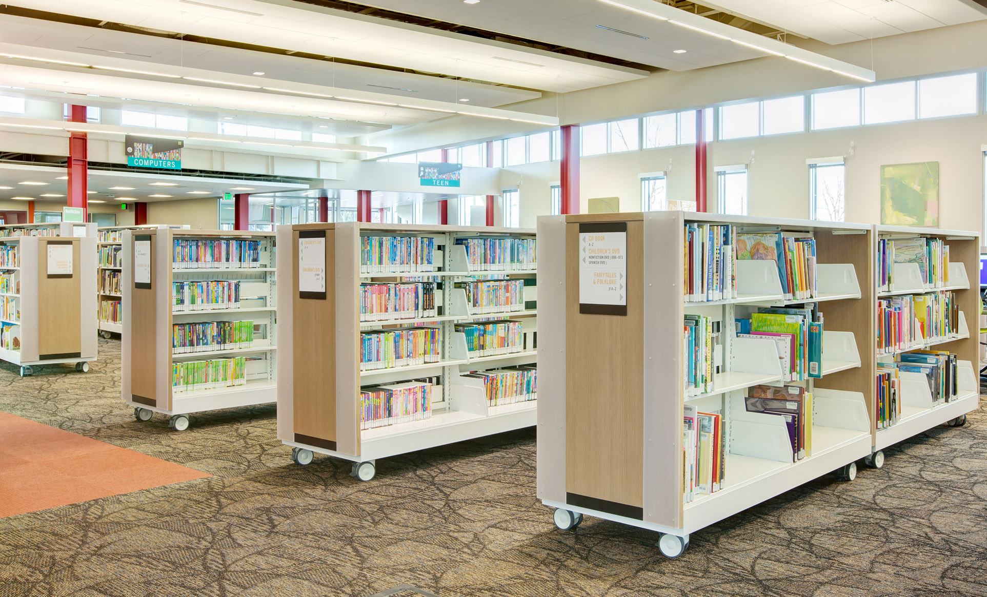 Wheeled shelving, library shelving with wheels, casters on library shelves
