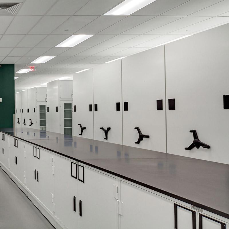 Custom museum cabinets - compactor storage