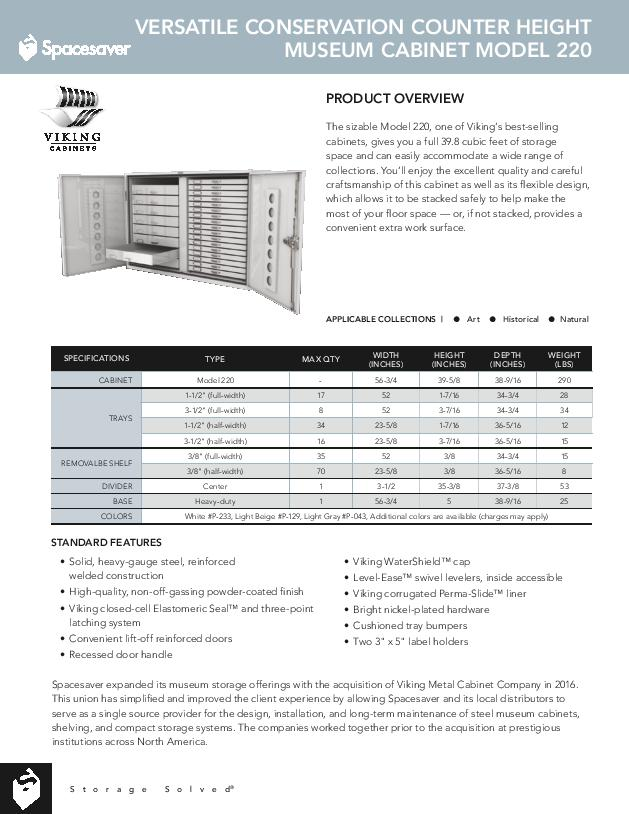 Free Download Cut Sheet: Viking Versatile Conservation Counter Height Museum Cabinet Model 220