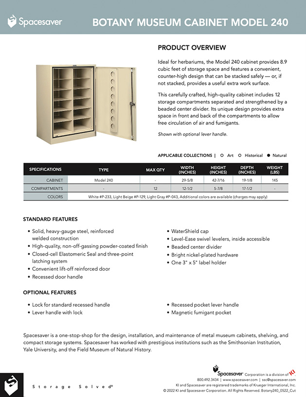 Free Download Cut Sheet: Viking Botany Museum Cabinet Model 240